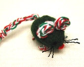 Wool Cat Toy Christmas Mouse, Durable Needle Felted Red, Green, & White Sheeps' Wool, Gift for Your Pet Benefits Charity