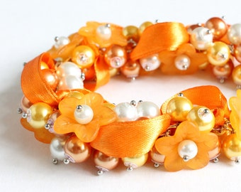 Pumpkin Orange Flower Cluster Bracelet and Earrings Set