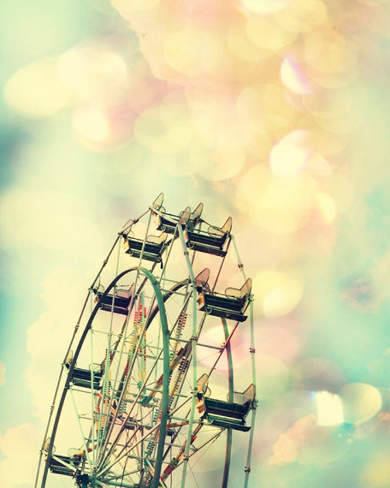 girl nursery art ferris wheel print carnival color photography Pink and yellow art toddler girl room decor baby girl nursery decor