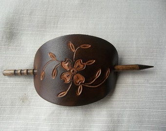 Leather Stick Barrette with Tooled Dogwood Flower