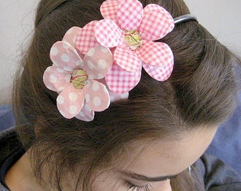 Dots and Gingham Daisy Paper Mache Headband