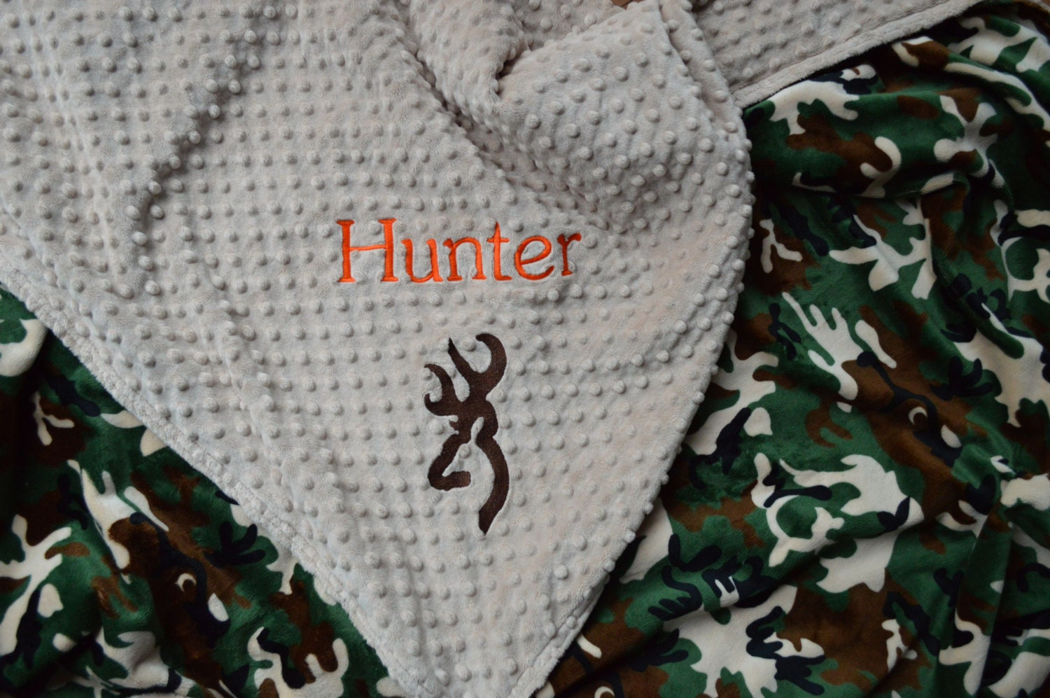 Personalized baby blanket-tan and camo deer hunting by ...