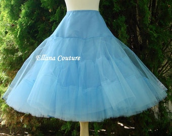 Ready to Ship in Size M. DISCOUNTED pricing. Blue Tea Length Crinoline. EXTRA Fullness Petticoat.