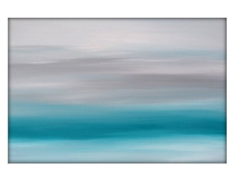 Abstract Seascape Landscape Original Acrylic Modern Painting on Canvas - 24x36 - Gray, Turquoise White.