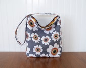 Slouch Purse - Grey Floral - Grey and Orange - Fabric Purse - Flower Fabric