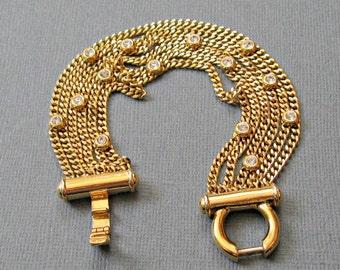 Gold Multi Chain Bracelet Rhinestones