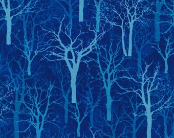 Winter Blues from Fabri-Quilt - Deep Blue Mystical, Magical, Bare Winter Trees Quilt Fabric