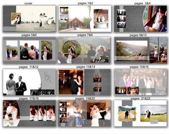 INSTANT DOWNLOAD - 12x12 Wedding Album template - Couple Neutral Grey - 0364 FA