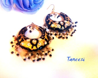 BLACK GOLD EARRINGS,Vintage black Earrings ,Chand Bali,Jaipur Jhumkas,Lac Earrings, Indian Gold Jewelry by Taneesi