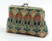 FREE Chain, Cosmetic bag, Art Nouveau, Ikat, Liberty of London Print clutch,Makeup bag, Geometric clutch, Party clutch, Formal purse, Brides