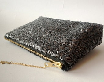 Sale-BLACK Sequin clutch.Wedding Clutch. Bridesmaids Clutch. Evening purse.Metallic Make Up Bag