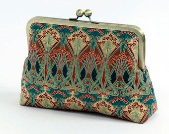 Cosmetic bag, Art Nouveau, Ikat, Liberty of London Print clutch,Makeup bag, Geometric clutch, Party clutch, Formal purse, Bridesmaids gift,