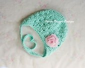Crochet Baby Hat with Earflaps in Robin's Egg Blue Cotton with Pink Chiffon Flower, Baby Girl Hats, 0 to 12 Months