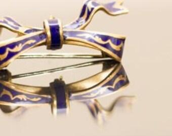 1920s Guilloche Antique French 18K Enamel Watch Pin