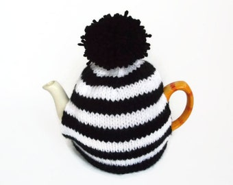 tea cozy cosie black and white stripe  with pom pom