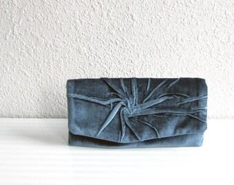 Personalize Clutch Bag in Gray, Blue, Teal, Velvet plush, Pleated Clutch, Spirala, Elegant ,Unique, Fiber Art, Love Clutch