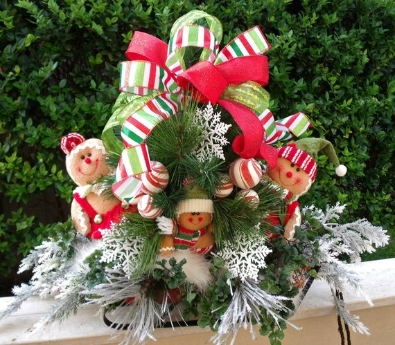 Gingerbread christmas centerpiece floral by luxewreaths on
