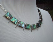 Paua Shell and Sterling Necklace