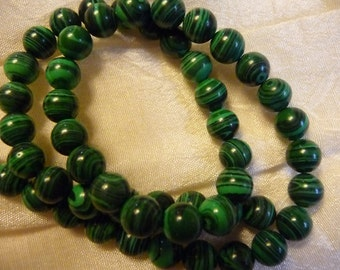 Beads, Green Malachite, Gemstone, 8mm, Round, Pkg Of 10