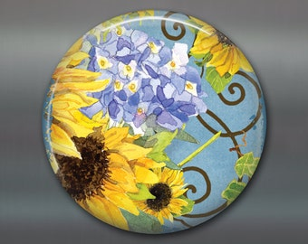 "3.5"" sunflower magnet, hand painted sunflower art magnet, country kitchen decor, large fridge magnet, sunflower decor MA-352"