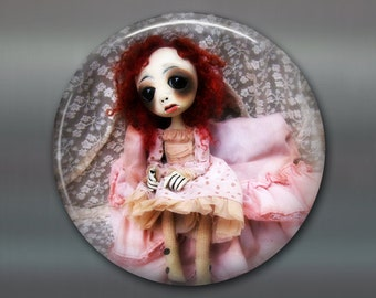 "3.5"" gothic doll fridge magnet, large magnet kitchen decor, gift for doll collector, gothic art decor, stocking stuffer gift for her MA-AD30"