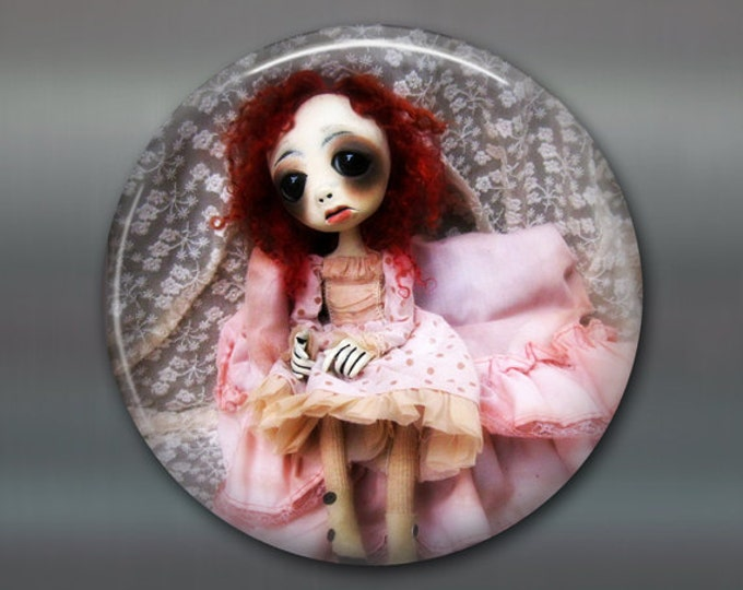 """3.5"""" gothic doll fridge magnet, large magnet kitchen decor, gift for doll collector, gothic art decor, stocking stuffer gift for her MA-AD30"""