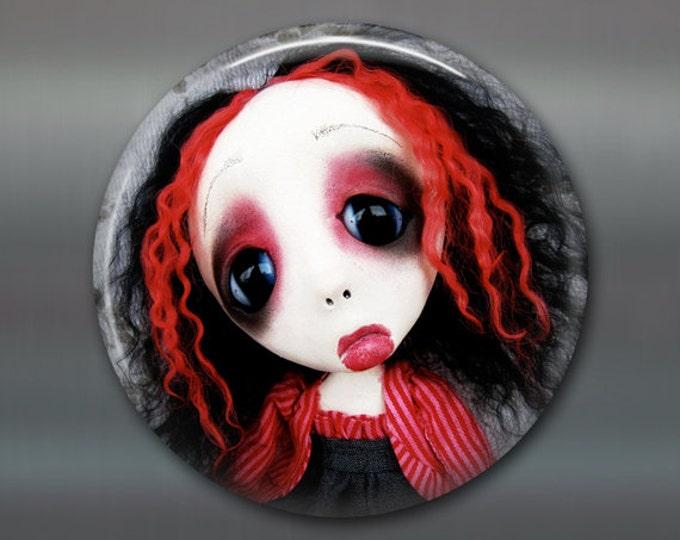"3.5"" gothic doll fridge magnet, large magnet, kitchen decor, gothic decor, housewarming gift art magnet MA-AD67"
