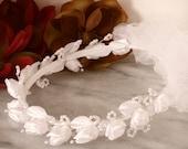 Floral Communion Wreath White Satin Flower Pearls Child Halo Headpiece Bridesmaid Flowergirl Hair Accessory