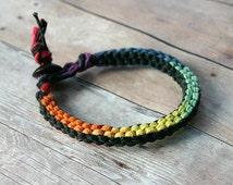 Surfer Macrame Hemp Bracelet Rainbow and Black Square Woven Knot  Bracelet