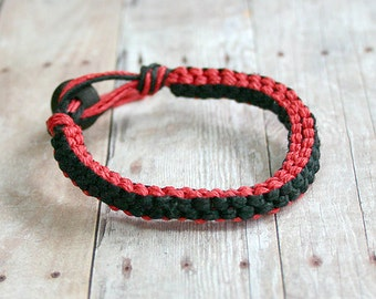 Surfer Macrame Hemp Bracelet Red and Black Square Woven Knot  Bracelet