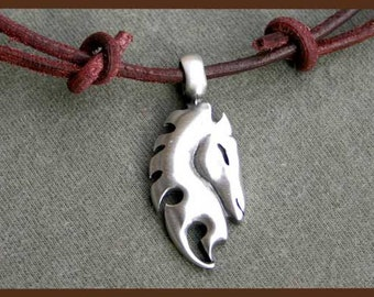 Leather Surfer Necklace With Pewter Horse Pendant