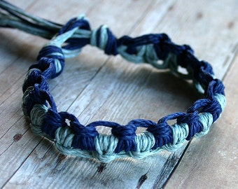 Surfer Thick Hemp Bracelet Or Anklet Interlocking Knots Blue Lightblue