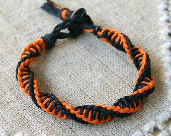 Surfer Macrame Orange Black Hemp Double Twist Knot Bracelet Rare Style Halloween