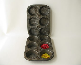 Vintage Cupcake Tins, TWO, textured