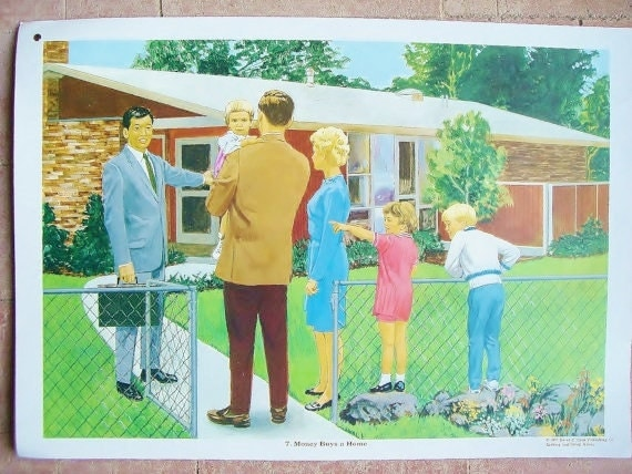 SALE Vintage 70s Educational Poster-Money buys a Home
