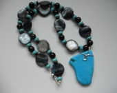 Turquoise Slab, Chunky Turquoise Necklace, Multi Beaded Necklace, Southwestern Necklace, Necklace Under 35, Unique Necklace, Shell Necklace