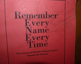 Book, Remember Every Name Every Time, memory improvement
