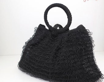 funky vintage crochet black tote bag / poly straw purse with loop fringe / bohemian bag / boho chic / shopping tote