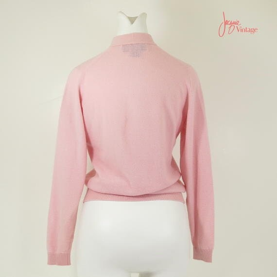 50s 60s Pink Cashmere Sweater / Tie Front Henley Vintage