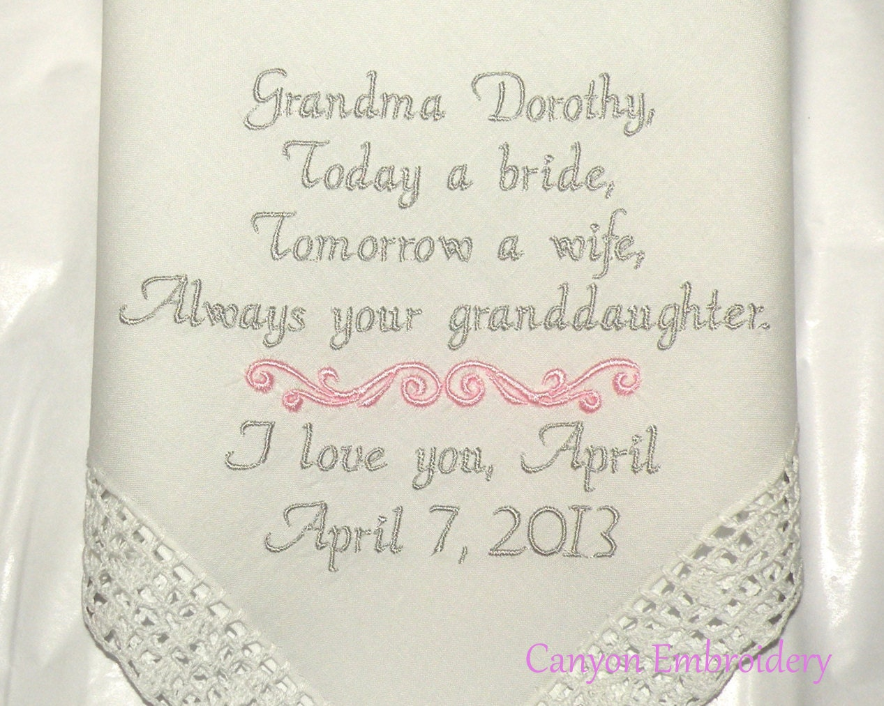 Grandmother Wedding Gift: Grandmother Gift Personalized Embroidered Wedding Hanky