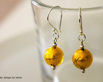 Yellow Gold foil Venetian lamp work Glass Earrings with Bali Silver Ear wire