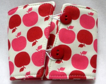 Coffee Cozy -  Coffee Cuff -  Coffee Sleeve - Reuseable Fabric Cozy - Eco Friendly -  Apples - Red and Pink  On Ivory
