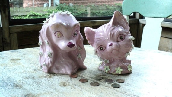 Vintage 1950s Lefton Lurid Pink Cat And Dog By Gryphonvintage