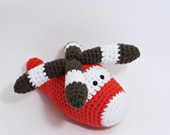 Amigurumi helicopter baby toy rattle with turnable blades - organic cotton - red and brown