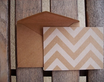 Chevron Kraft & White Note Cards - Flat Card Set, Kraft Chevron Stationery, Save The Dates, Rustic Modern Thank You Notes