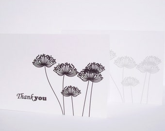 Queen Anne's Lace Thank You Card Set - White Black Folded Thank You Notes, Botanical Silhouettes Nature Garden Black White Grey Note Cards
