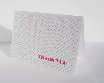 Chevron Thank You Cards - Ruled Chevron Card Set,  Aqua Blue Mint Red Lined Thank You Notes, Old School Handwriting Paper Chevron Stationery