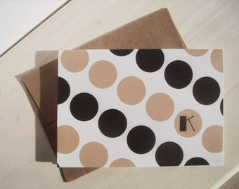 Personalized Stationery - Monogram Initial Note Cards, Mod Dots Note Card Set, Personalized Thank You Notes, Black Beige Monogram Note Cards