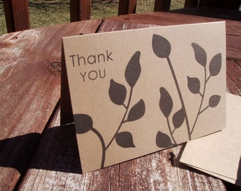 Kraft Thank You Cards - Black Leaves Kraft Paper Thank You Notes, Botanical Silhouettes Leaf Stems Nature Garden Earthy Note Card Set