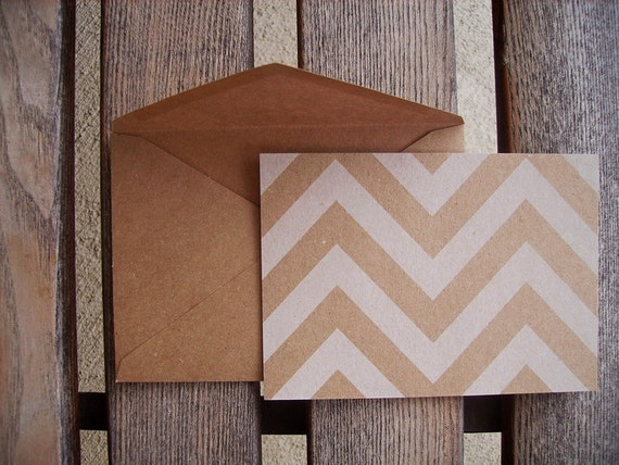 Chevron Kraft & White Note Cards - Flat Card Set, Kraft Chevron Stationery, Save The Dates, Rustic Modern Thank You Notes